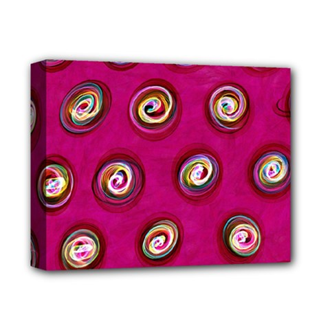Digitally Painted Abstract Polka Dot Swirls On A Pink Background Deluxe Canvas 14  X 11