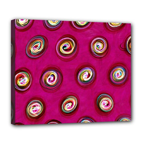 Digitally Painted Abstract Polka Dot Swirls On A Pink Background Deluxe Canvas 24  x 20