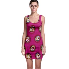 Digitally Painted Abstract Polka Dot Swirls On A Pink Background Sleeveless Bodycon Dress