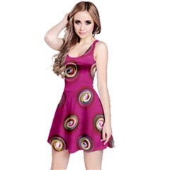 Digitally Painted Abstract Polka Dot Swirls On A Pink Background Reversible Sleeveless Dress