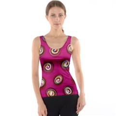 Digitally Painted Abstract Polka Dot Swirls On A Pink Background Tank Top