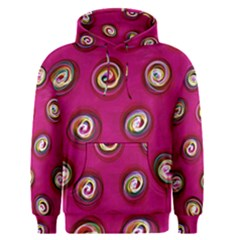 Digitally Painted Abstract Polka Dot Swirls On A Pink Background Men s Pullover Hoodie