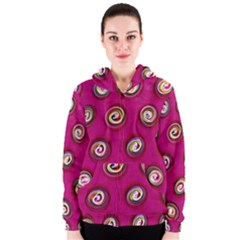 Digitally Painted Abstract Polka Dot Swirls On A Pink Background Women s Zipper Hoodie