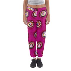 Digitally Painted Abstract Polka Dot Swirls On A Pink Background Women s Jogger Sweatpants