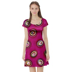 Digitally Painted Abstract Polka Dot Swirls On A Pink Background Short Sleeve Skater Dress