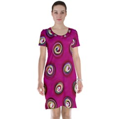 Digitally Painted Abstract Polka Dot Swirls On A Pink Background Short Sleeve Nightdress
