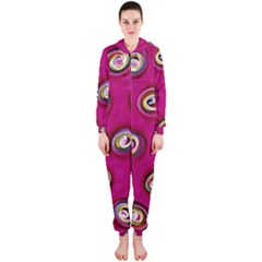 Digitally Painted Abstract Polka Dot Swirls On A Pink Background Hooded Jumpsuit (Ladies)