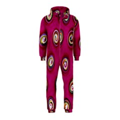 Digitally Painted Abstract Polka Dot Swirls On A Pink Background Hooded Jumpsuit (Kids)