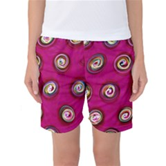 Digitally Painted Abstract Polka Dot Swirls On A Pink Background Women s Basketball Shorts