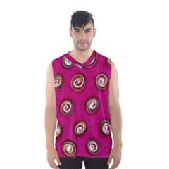Digitally Painted Abstract Polka Dot Swirls On A Pink Background Men s Basketball Tank Top