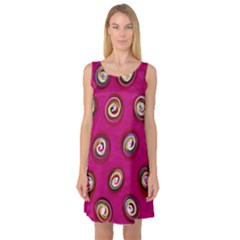 Digitally Painted Abstract Polka Dot Swirls On A Pink Background Sleeveless Satin Nightdress