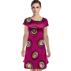 Digitally Painted Abstract Polka Dot Swirls On A Pink Background Cap Sleeve Nightdress