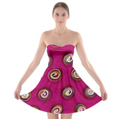 Digitally Painted Abstract Polka Dot Swirls On A Pink Background Strapless Bra Top Dress
