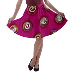 Digitally Painted Abstract Polka Dot Swirls On A Pink Background A-line Skater Skirt