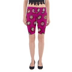 Digitally Painted Abstract Polka Dot Swirls On A Pink Background Yoga Cropped Leggings