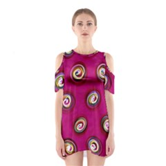 Digitally Painted Abstract Polka Dot Swirls On A Pink Background Shoulder Cutout One Piece