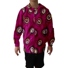 Digitally Painted Abstract Polka Dot Swirls On A Pink Background Hooded Wind Breaker (kids)