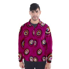 Digitally Painted Abstract Polka Dot Swirls On A Pink Background Wind Breaker (Men)
