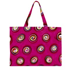 Digitally Painted Abstract Polka Dot Swirls On A Pink Background Large Tote Bag