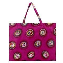 Digitally Painted Abstract Polka Dot Swirls On A Pink Background Zipper Large Tote Bag
