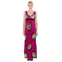 Digitally Painted Abstract Polka Dot Swirls On A Pink Background Maxi Thigh Split Dress