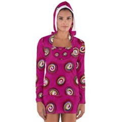 Digitally Painted Abstract Polka Dot Swirls On A Pink Background Women s Long Sleeve Hooded T-shirt