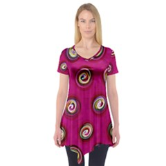 Digitally Painted Abstract Polka Dot Swirls On A Pink Background Short Sleeve Tunic