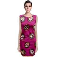 Digitally Painted Abstract Polka Dot Swirls On A Pink Background Classic Sleeveless Midi Dress