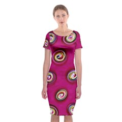 Digitally Painted Abstract Polka Dot Swirls On A Pink Background Classic Short Sleeve Midi Dress