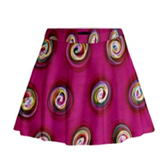 Digitally Painted Abstract Polka Dot Swirls On A Pink Background Mini Flare Skirt