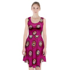 Digitally Painted Abstract Polka Dot Swirls On A Pink Background Racerback Midi Dress