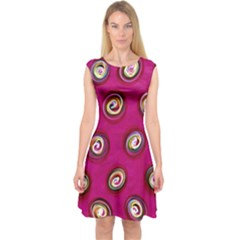 Digitally Painted Abstract Polka Dot Swirls On A Pink Background Capsleeve Midi Dress