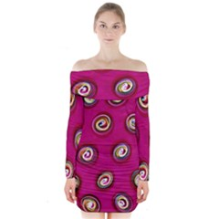Digitally Painted Abstract Polka Dot Swirls On A Pink Background Long Sleeve Off Shoulder Dress