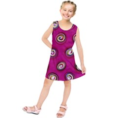 Digitally Painted Abstract Polka Dot Swirls On A Pink Background Kids  Tunic Dress