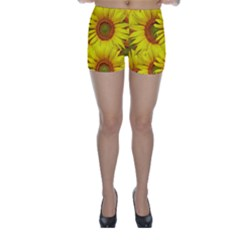 Sunflowers Background Wallpaper Pattern Skinny Shorts