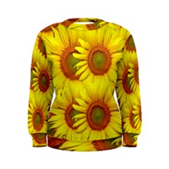 Sunflowers Background Wallpaper Pattern Women s Sweatshirt