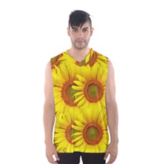 Sunflowers Background Wallpaper Pattern Men s Basketball Tank Top