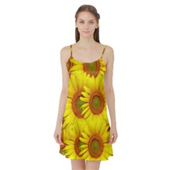 Sunflowers Background Wallpaper Pattern Satin Night Slip