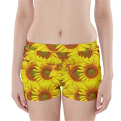 Sunflowers Background Wallpaper Pattern Boyleg Bikini Wrap Bottoms