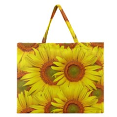 Sunflowers Background Wallpaper Pattern Zipper Large Tote Bag