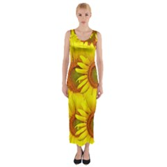 Sunflowers Background Wallpaper Pattern Fitted Maxi Dress