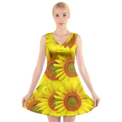 Sunflowers Background Wallpaper Pattern V Neck Sleeveless Skater Dress