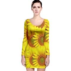 Sunflowers Background Wallpaper Pattern Long Sleeve Velvet Bodycon Dress