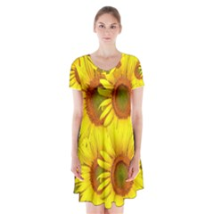 Sunflowers Background Wallpaper Pattern Short Sleeve V-neck Flare Dress