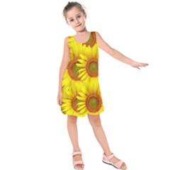 Sunflowers Background Wallpaper Pattern Kids  Sleeveless Dress