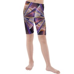 Background Image With Wheel Of Fortune Kids  Mid Length Swim Shorts