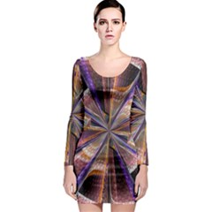 Background Image With Wheel Of Fortune Long Sleeve Bodycon Dress