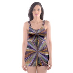 Background Image With Wheel Of Fortune Skater Dress Swimsuit