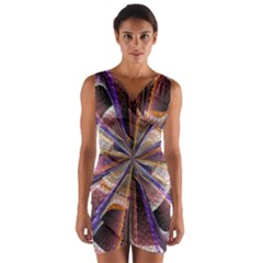 Background Image With Wheel Of Fortune Wrap Front Bodycon Dress