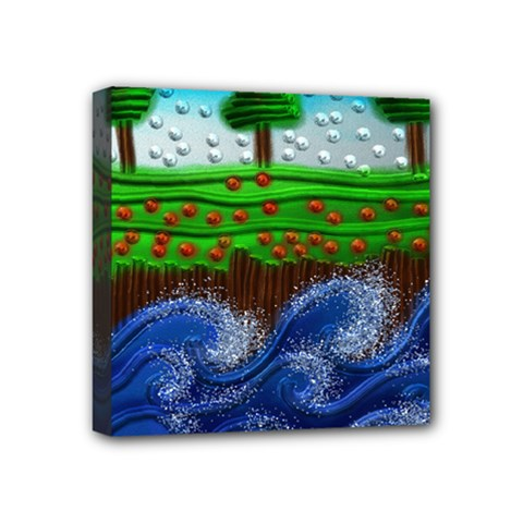 Beaded Landscape Textured Abstract Landscape With Sea Waves In The Foreground And Trees In The Background Mini Canvas 4  X 4
